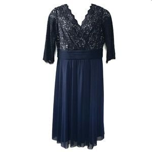 Jessica Howard Blue Illusion LACE Dress